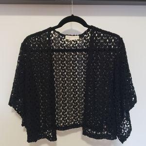 Staring at Stars Black Crochet Cropped Kimono